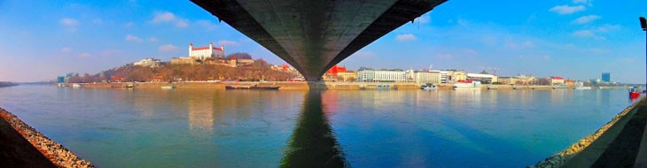 Bank of the river Danube in Bratislava - panorama