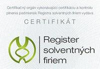 Certifikát - Register solventných firiem